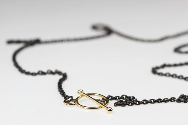 Necklaces gold lock silver oxyd