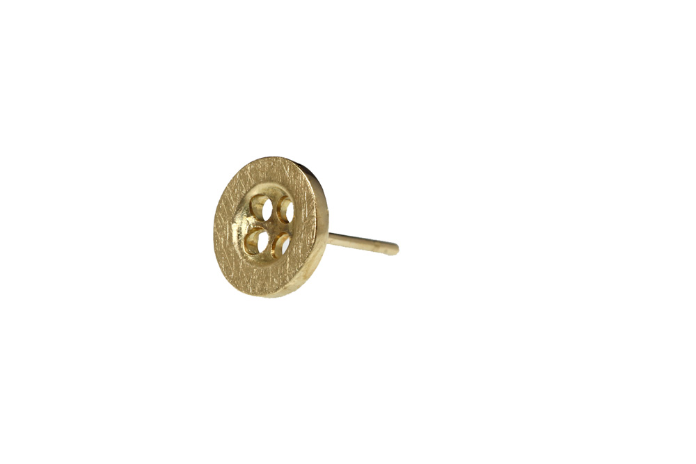 Earring gold 14k button