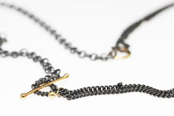 Necklace silver gold loop