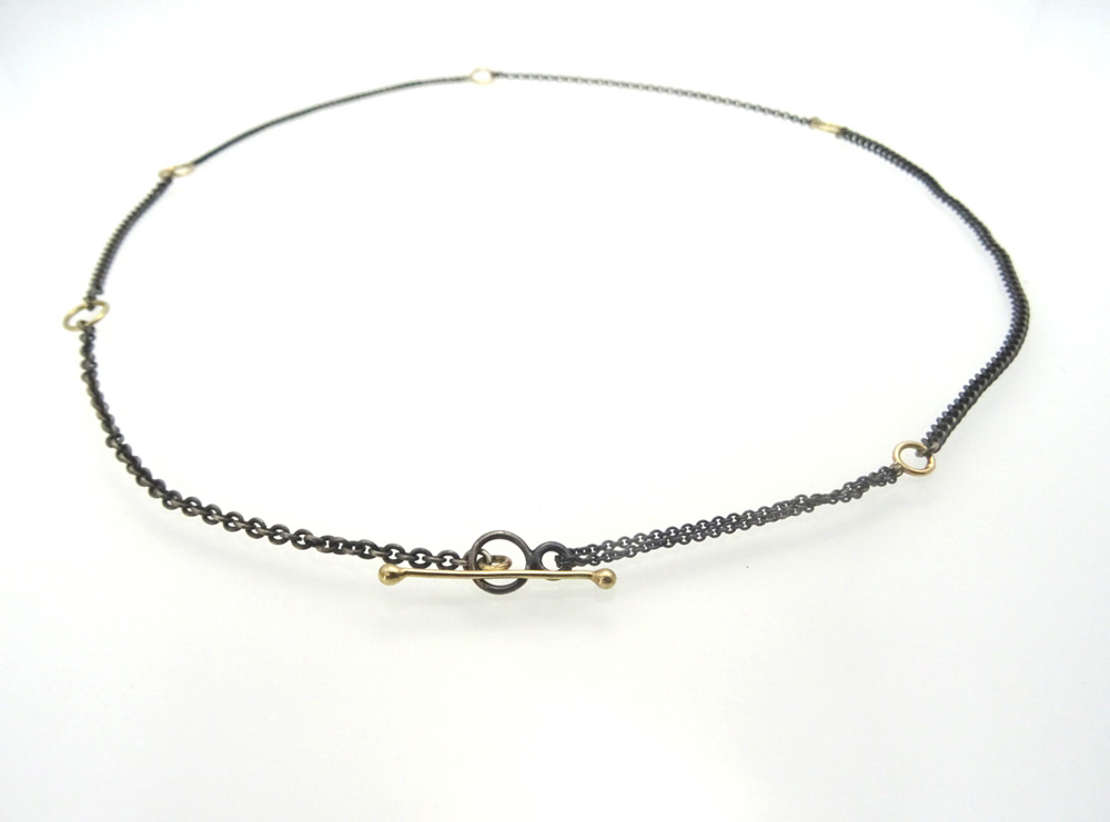 necklace gold 14k silver links front black oxyd