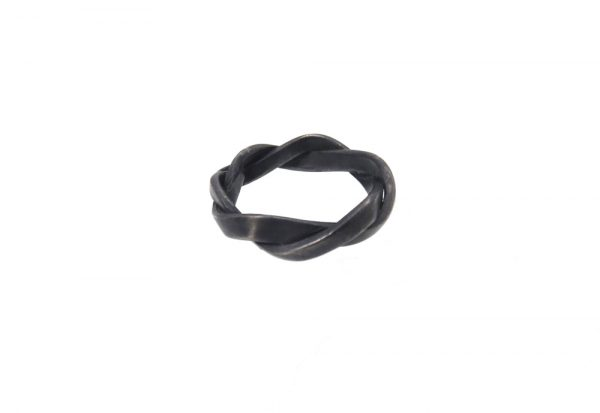 ring silver twine black oxyd twist