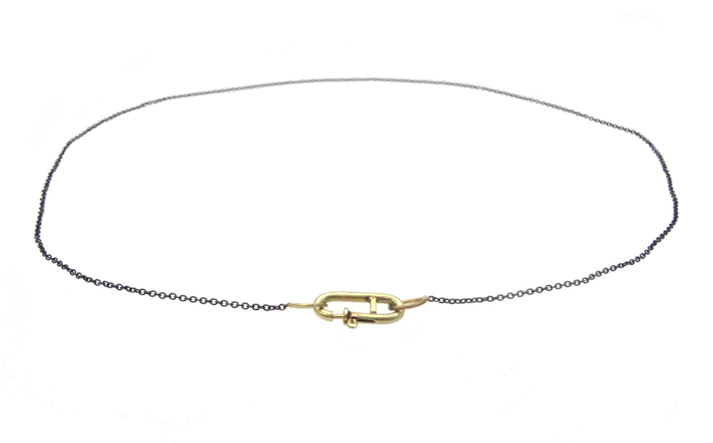 necklace gold 14k lock front closure cfe round silver black oxyd
