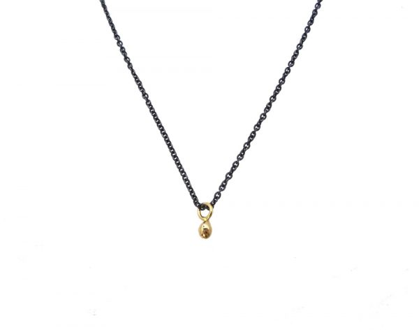 necklace gold 14k silver bulb front
