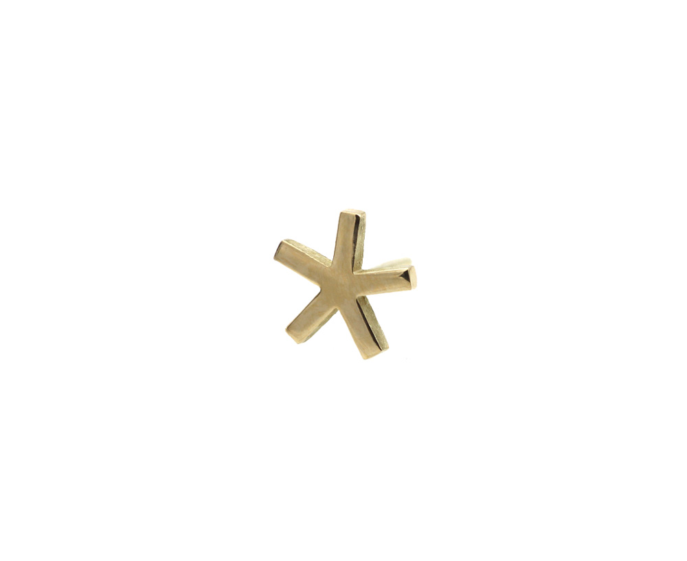 earring gold 14k cristal star front