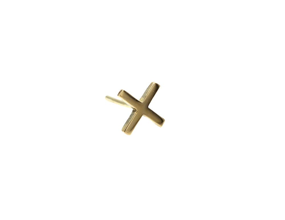 earring gold 14k cross front