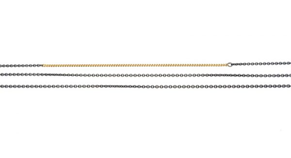 necklace gold silver 14k chains black oxyd tripple