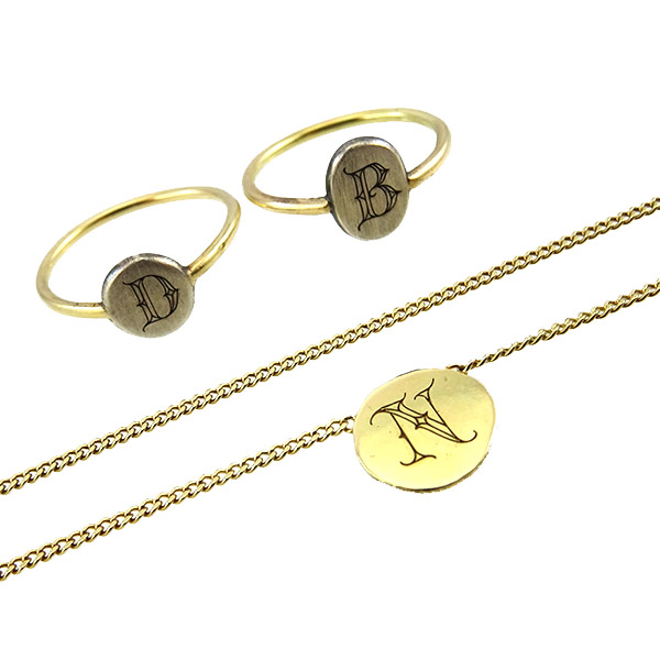 Necklace Ring 14k Gold Initial Tattoo Common Stamp